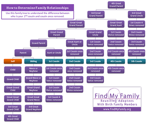 How to determine family relationships: Use this family tree to understand the difference between who is your 2nd cousin and cousin once removed.